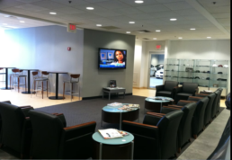 Hear muted TVs at airport lounges
